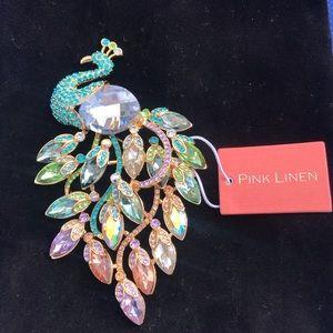 Pink Linen Peacock Pin